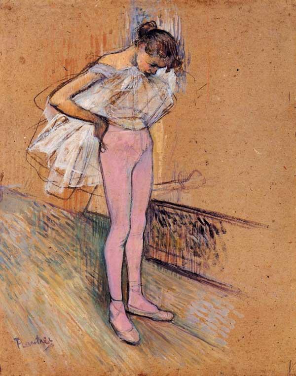 Henri-de-Toulouse-Lautrec,-Dancer-Adjusting-Her-Tights