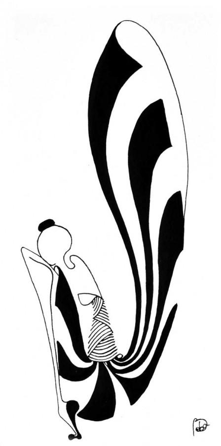 11.-FLYING-THOUGHTS,-colectie-Ballerina,-tehnica-penita-si-pensula-cu-cerneala-acrilica