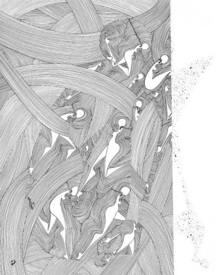 6.-TESTING-WATERS,-colectie-Between-Worlds-penita-si-pensula-cu-cerneala-acrilica